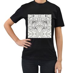 Drawing Floral Doodle 1 Women s T-Shirt (Black) (Two Sided)