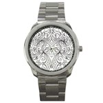 Drawing Floral Doodle 1 Sport Metal Watches Front