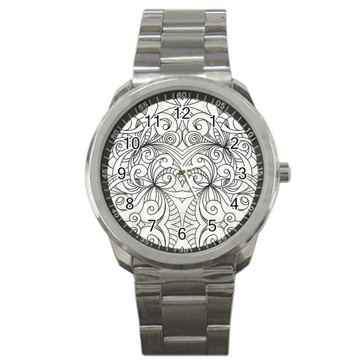 Drawing Floral Doodle 1 Sport Metal Watches