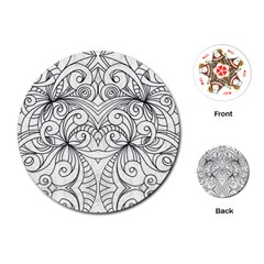 Drawing Floral Doodle 1 Playing Cards (Round)