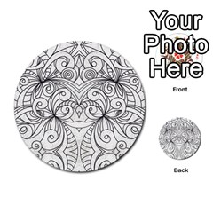 Drawing Floral Doodle 1 Multi Purpose Cards (round)