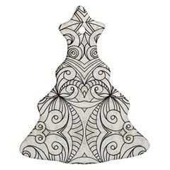 Drawing Floral Doodle 1 Christmas Tree Ornament (2 Sides)
