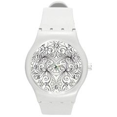 Drawing Floral Doodle 1 Round Plastic Sport Watch (M)