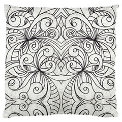 Drawing Floral Doodle 1 Large Cushion Cases (One Side)