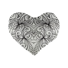 Drawing Floral Doodle 1 Standard 16  Premium Heart Shape Cushions