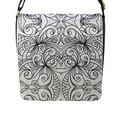 Drawing Floral Doodle 1 Flap Messenger Bag (L)