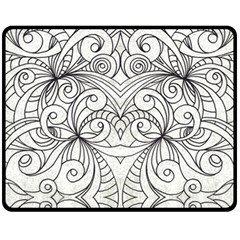 Drawing Floral Doodle 1 Double Sided Fleece Blanket (Medium)