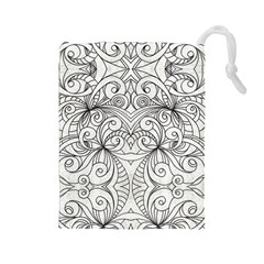 Drawing Floral Doodle 1 Drawstring Pouches (Large)