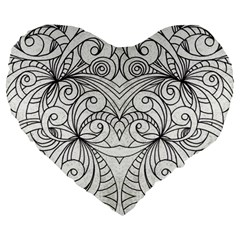 Drawing Floral Doodle 1 Large 19  Premium Flano Heart Shape Cushions