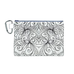 Drawing Floral Doodle 1 Canvas Cosmetic Bag (M)