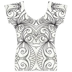 Drawing Floral Doodle 1 Women s V-Neck Cap Sleeve Top