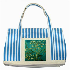 Blossoming Almond Tree Striped Blue Tote Bag