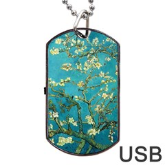 Blossoming Almond Tree Dog Tag USB Flash (Two Sides)