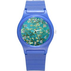 Blossoming Almond Tree Round Plastic Sport Watch (S)