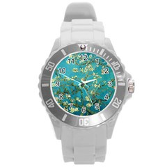Blossoming Almond Tree Round Plastic Sport Watch (L)