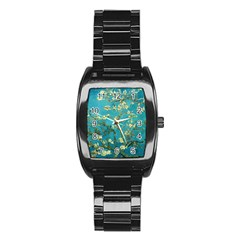 Blossoming Almond Tree Stainless Steel Barrel Watch