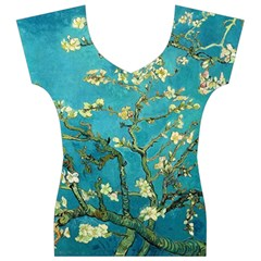 Blossoming Almond Tree Women s V-Neck Cap Sleeve Top
