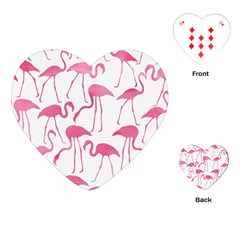 Pink Flamingos Pattern Playing Cards (Heart)