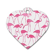 Pink Flamingos Pattern Dog Tag Heart (Two Sides)