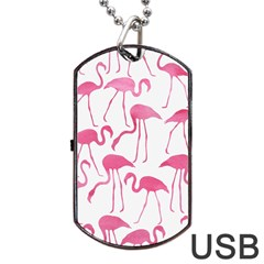Pink Flamingos Pattern Dog Tag USB Flash (Two Sides)