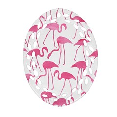 Pink Flamingos Pattern Oval Filigree Ornament (2 Side)