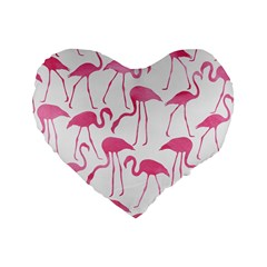 Pink Flamingos Pattern Standard 16  Premium Flano Heart Shape Cushions