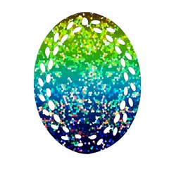 Glitter 4 Oval Filigree Ornament (2 Side)