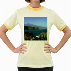 Panted Landscape Tenerife Women s Fitted Ringer T-Shirts