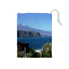 Panted Landscape Tenerife Drawstring Pouches (Medium)