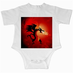 Funny, Cute Dragon With Fire Infant Creepers