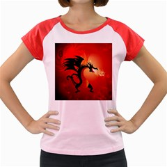 Funny, Cute Dragon With Fire Women s Cap Sleeve T Shirt