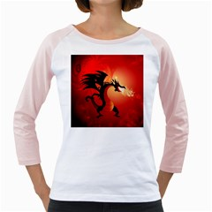 Funny, Cute Dragon With Fire Girly Raglans