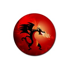 Funny, Cute Dragon With Fire Rubber Coaster (Round)