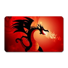 Funny, Cute Dragon With Fire Magnet (Rectangular)