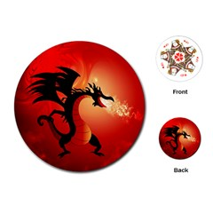Funny, Cute Dragon With Fire Playing Cards (round)
