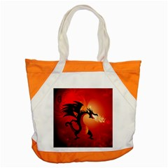 Funny, Cute Dragon With Fire Accent Tote Bag