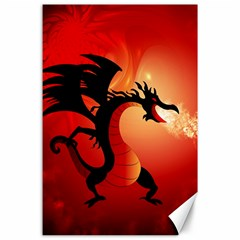 Funny, Cute Dragon With Fire Canvas 24  X 36