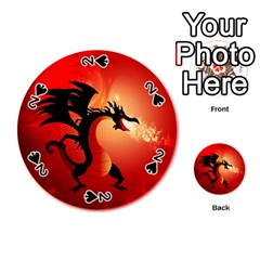 Funny, Cute Dragon With Fire Playing Cards 54 (Round)