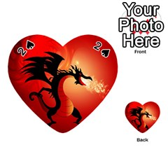 Funny, Cute Dragon With Fire Playing Cards 54 (heart)