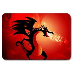 Funny, Cute Dragon With Fire Large Doormat