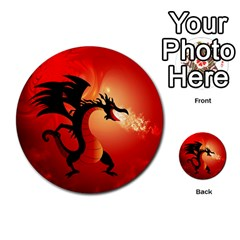 Funny, Cute Dragon With Fire Multi Purpose Cards (round)