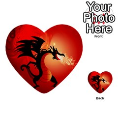 Funny, Cute Dragon With Fire Multi-purpose Cards (Heart)