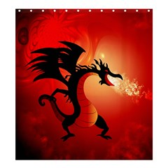 Funny, Cute Dragon With Fire Shower Curtain 66  x 72  (Large)