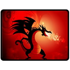 Funny, Cute Dragon With Fire Fleece Blanket (large)