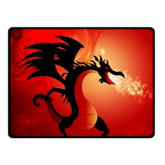 Funny, Cute Dragon With Fire Fleece Blanket (Small)