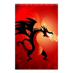Funny, Cute Dragon With Fire Shower Curtain 48  x 72  (Small)