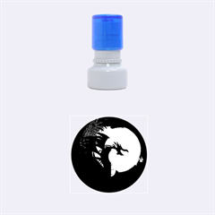 Funny, Cute Dragon With Fire Rubber Round Stamps (Small)