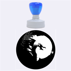 Funny, Cute Dragon With Fire Rubber Round Stamps (Large)