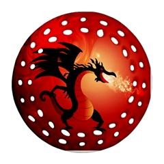 Funny, Cute Dragon With Fire Ornament (Round Filigree)