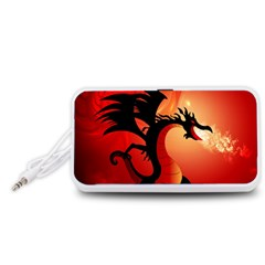 Funny, Cute Dragon With Fire Portable Speaker (White)